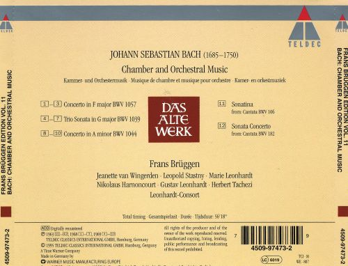 Frans Brüggen Edition, Vol. 11: Bach Chamber and Orchestral Music