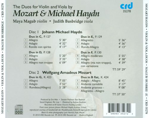 The Duos for Violin & Viola by Mozart and Michael Haydn