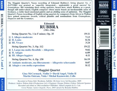 Edmund Rubbra: String Quartets Nos. 1, 3 & 4