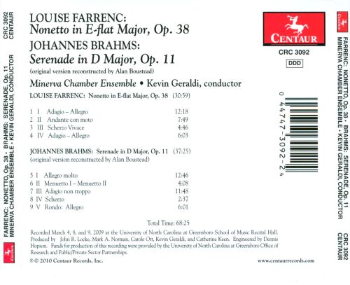 Louise Farrenc: Nonetto, Op. 38; Brahms: Serenade, Op. 11