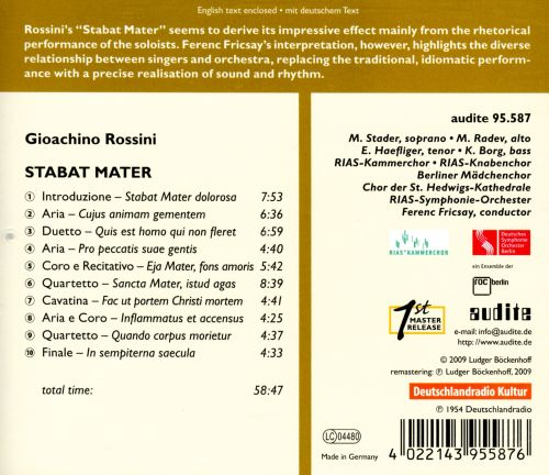 Edition Ferenc Fricsay, Vol. 11: Rossini's Stabat Mater
