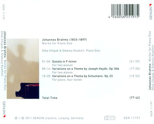 Brahms: Works for Piano Duo