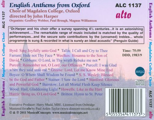 English Anthems from Oxford: Byrd to Britten