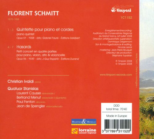 Florent Schmitt: Piano Quintet; Hasards
