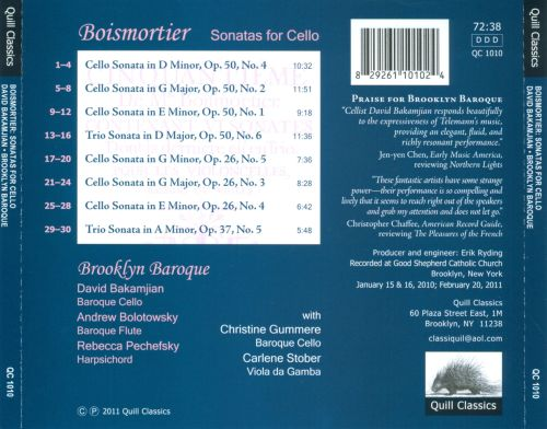 Boismortier: Sonatas for Cello
