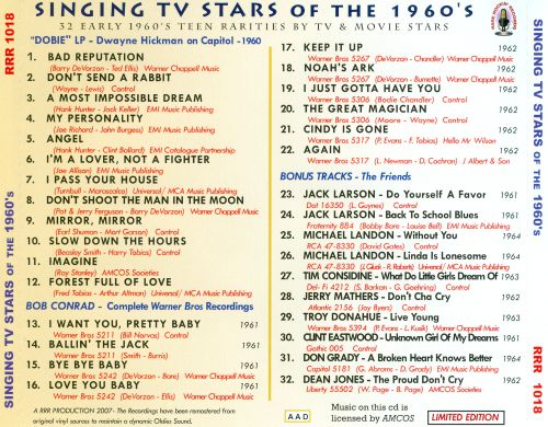 Singing TV Stars of the 1960's