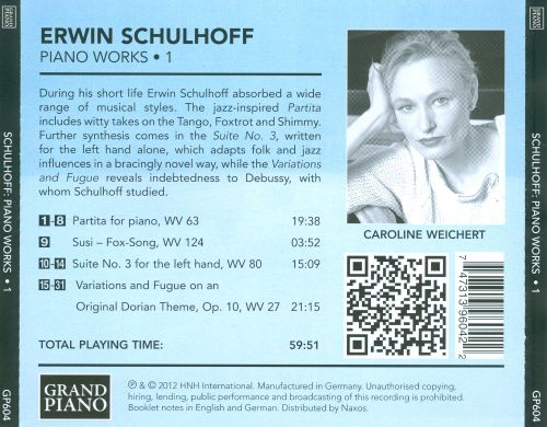 Erwin Schulhoff: Piano Works, Vol. 1