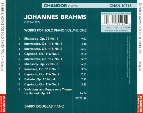 Brahms: Works for Solo Piano, Vol. 1