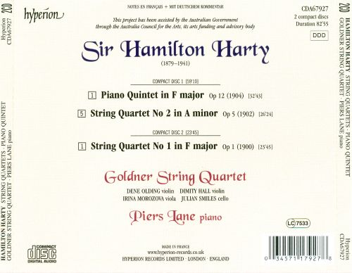 Hamilton Harty: String Quartets; Piano Quintet