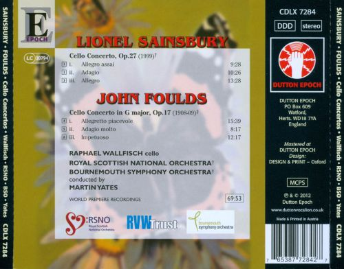 Lionel Sainsbury, John Foulds: Cello Concertos