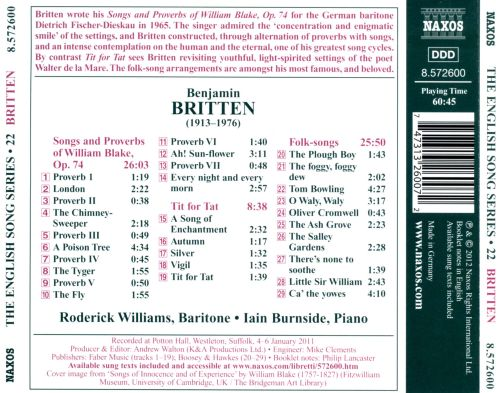 Britten: Songs and Proverbs of William Blake; Tit for Tat; Folk-songs