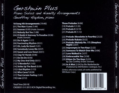 Gershwin Plus: Piano Solos and Novelty Arrangements