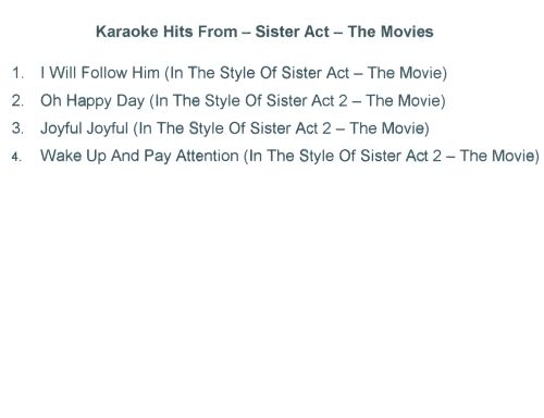 Karaoke Hits From Sister Act: The Movies