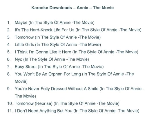 Karaoke Hits From Annie: The Movie