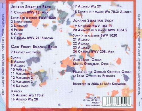 J.S. & C.P.E. Bach: Works for Organ & Oboe