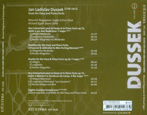 Jan Ladislav Dussek: Duos for Harp and Piano Forte, Vol. 2