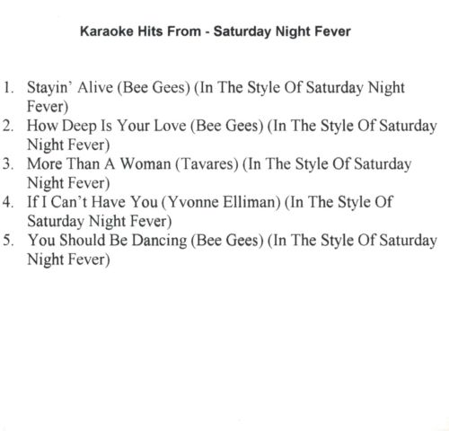 Karaoke Hits From Saturday Night Fever