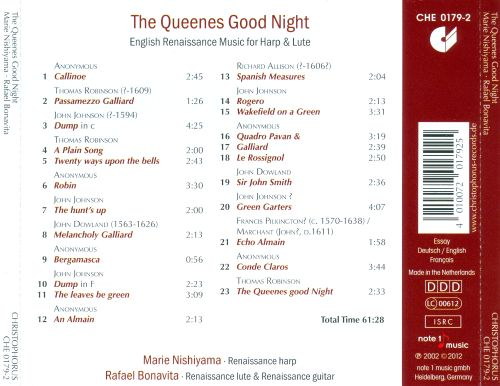 The Queenes Good Night: English Renaissance Music for Harp & Lute