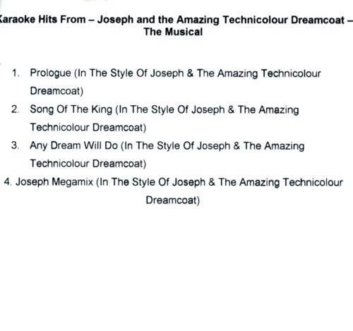 Karaoke Hits From Joseph and the Amazing Technicolour Dreamcoat: The Musical
