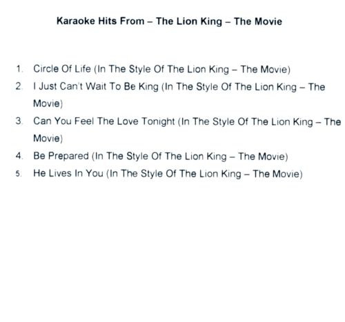 Karaoke Hits From The Lion King: The Movie