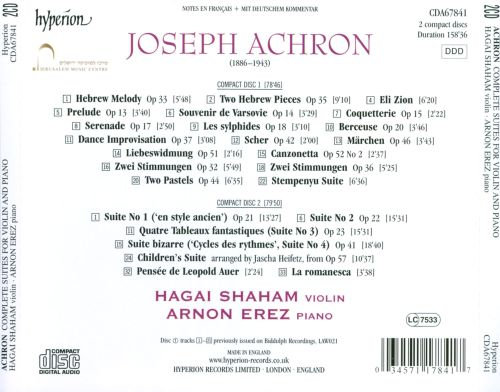 Joseph Achron: Complete Suites for Violin and Piano