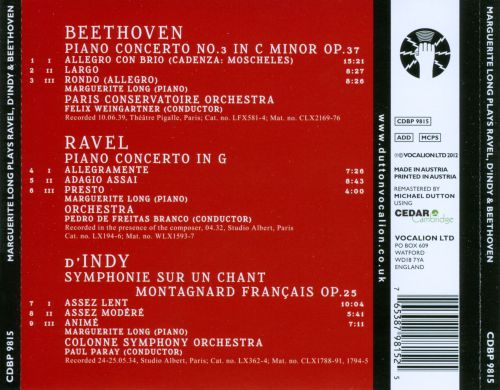 Marguerite Long plays Ravel & d'Indy & Beethoven