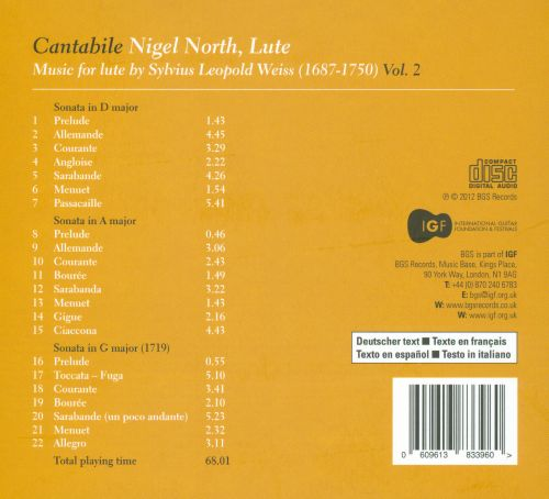 Cantabile: Music for Lute by Sylvius Leopold Weiss, Vol. 2