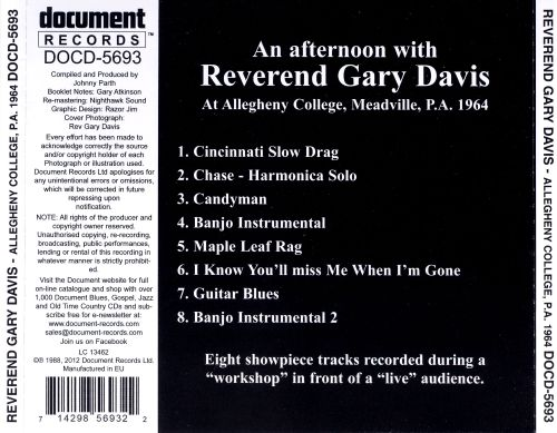 An Afternoon With Reverend Gary Davis At Allegheny College, Meadville, P.A. 1964