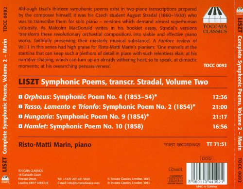 Liszt: The Complete Symphonic Poems Transcribed for Solo Piano by August Stradal, Vol. 2
