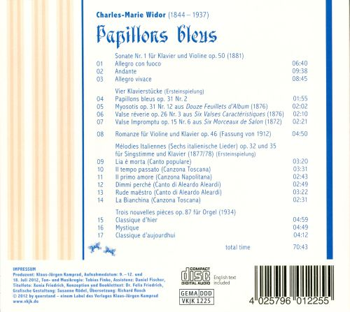 Charles-Marie Widor: Papillons bleues