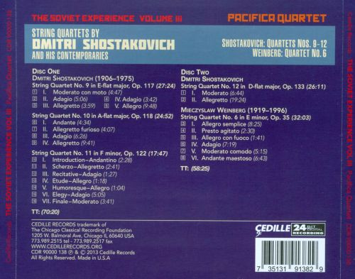 The Soviet Experience, Vol. 3: String Quartets by Dmitri Shostakovich and his Contemporaries