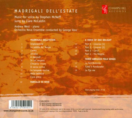 Madrigali dell'Estate: Music for Voice by Stephen McNeff
