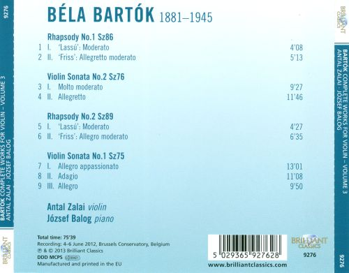 Bartók: Complete Works for Violin, Vol. 3