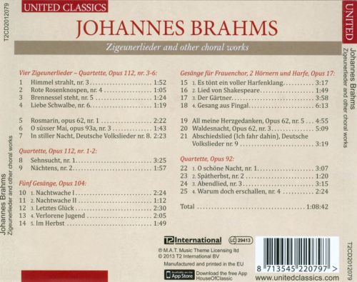 Brahms: Zigeunerlieder and other choral works