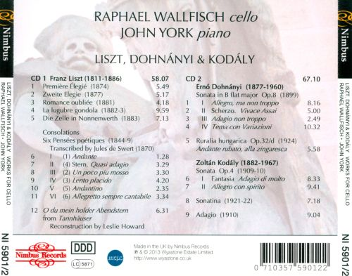 Liszt, Dohnányi, Kodály: Works for Cello & Piano