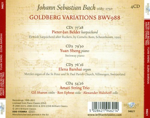 Bach: Goldberg Variations, played on harpsichord, piano, organ, string trio