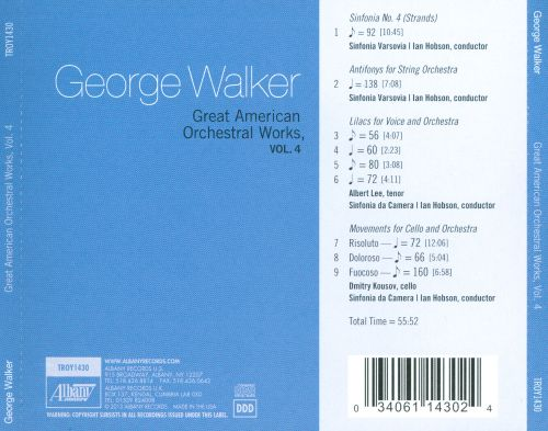 George Walker: Great American Orchestral Works, Vol. 4