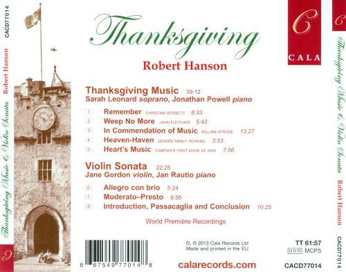 Robert Hanson: Thanksgiving Music; Violin Sonata