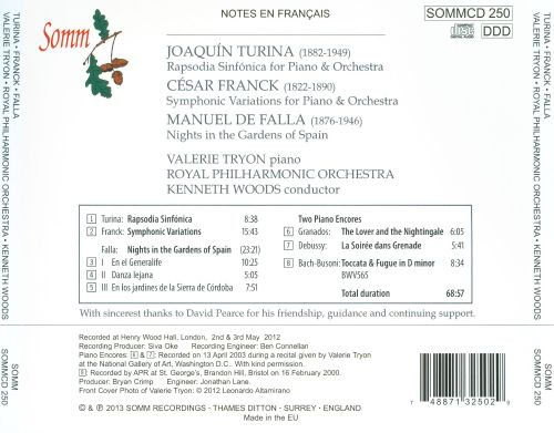 Turina: Rapsodia Sinfónica; Franck: Symphonic Variations; Falla: Nights in the Gardens of Spain
