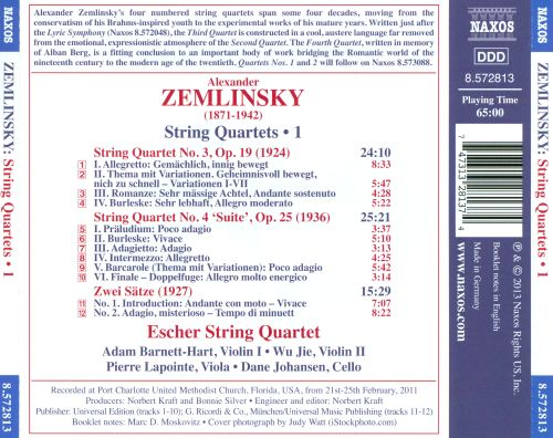 Zemlinsky: String Quartets, Vol. 1