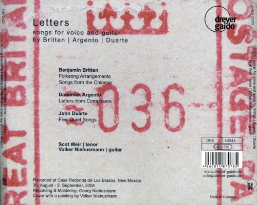 Letters: Songs for Voice and Guitar by Britten, Argento, Duarte