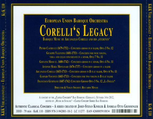Corelli's Legacy: Baroque Music by Arcangelo Corelli and His Students
