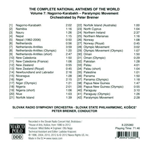 Complete National Anthems of the World (2013 Edition), Vol. 7