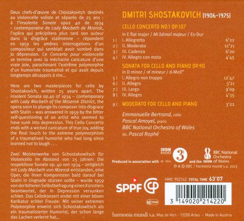 Shostakovich: Cello Concerto No. 1; Sonata for Cello and Piano