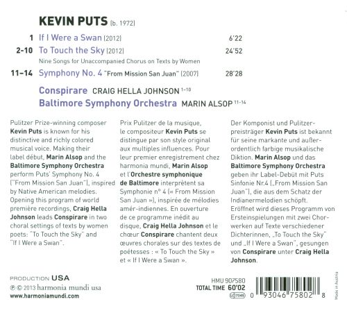 Kevin Puts: To Touch the Sky; If I Were a Swan; Symphony No. 4