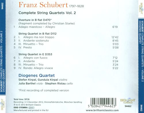 Schubert: Complete String Quartets, Vol. 2