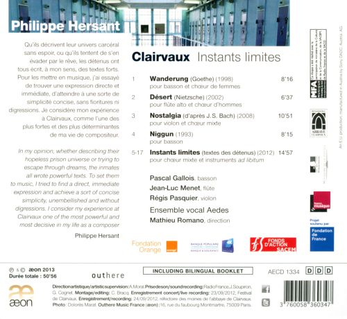 Philippe Hersant: Clairvaux - Instants Limites