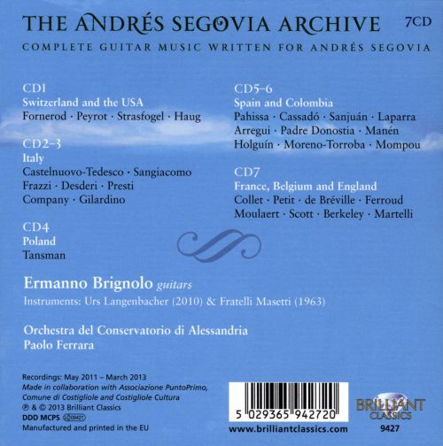 The Andrés Segovia Archive: Complete Guitar Music