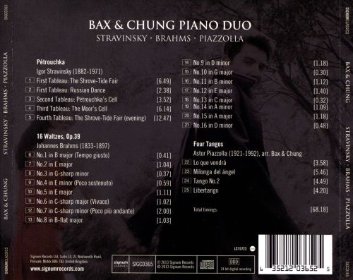 Bax & Chung, Piano Duo play Stravinsky, Brahms, Piazzolla