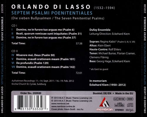 Orlando di Lasso: The Seven Penitential Psalms